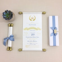 Load image into Gallery viewer, Prince Royal Baptism Scroll Invitation Sweet Sixteen Invitation Quinceanera - Simply Fab Chic