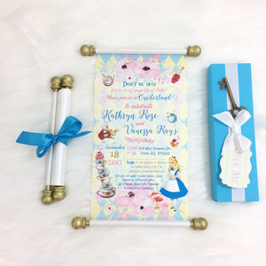 Alice in Wonderland Tea Party Birthday Scroll Invitation | Bridal Shower Wedding Invite - Simply Fab Chic