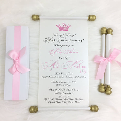 Princess Baby Shower Scroll Invitation Girl Baby Shower Invite - Simply Fab Chic