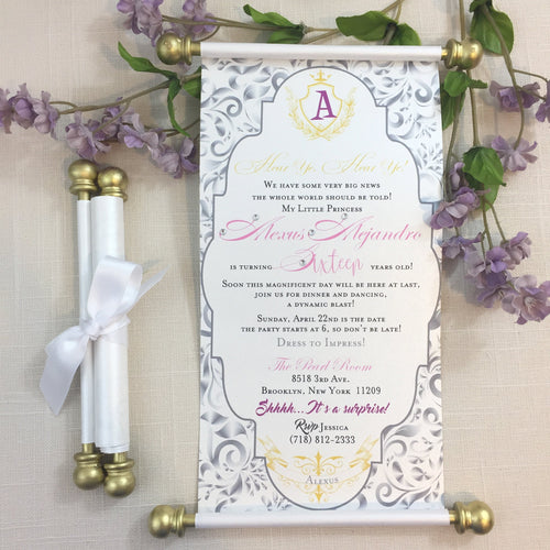 Royal Quinceañera Sweet 16 Scroll Invitation in Lavender Purple Gold Pink - Simply Fab Chic