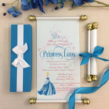 Load image into Gallery viewer, Cinderella Royal Princess Scroll Birthday Invitation in Cinderella Blue and Gold - Simply Fab Chic