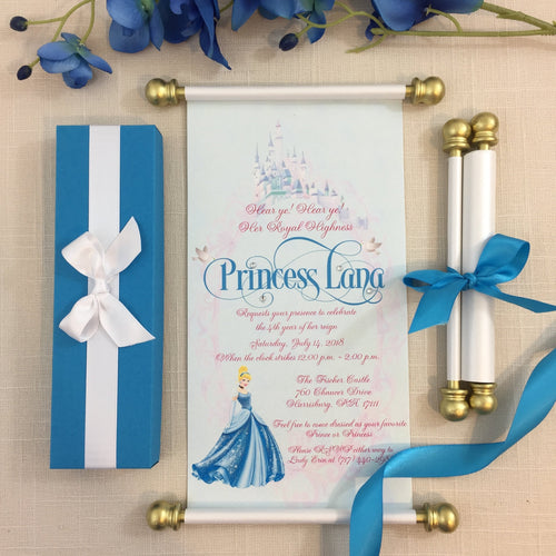 Cinderella Royal Princess Scroll Birthday Invitation in Cinderella Blue and Gold - Simply Fab Chic