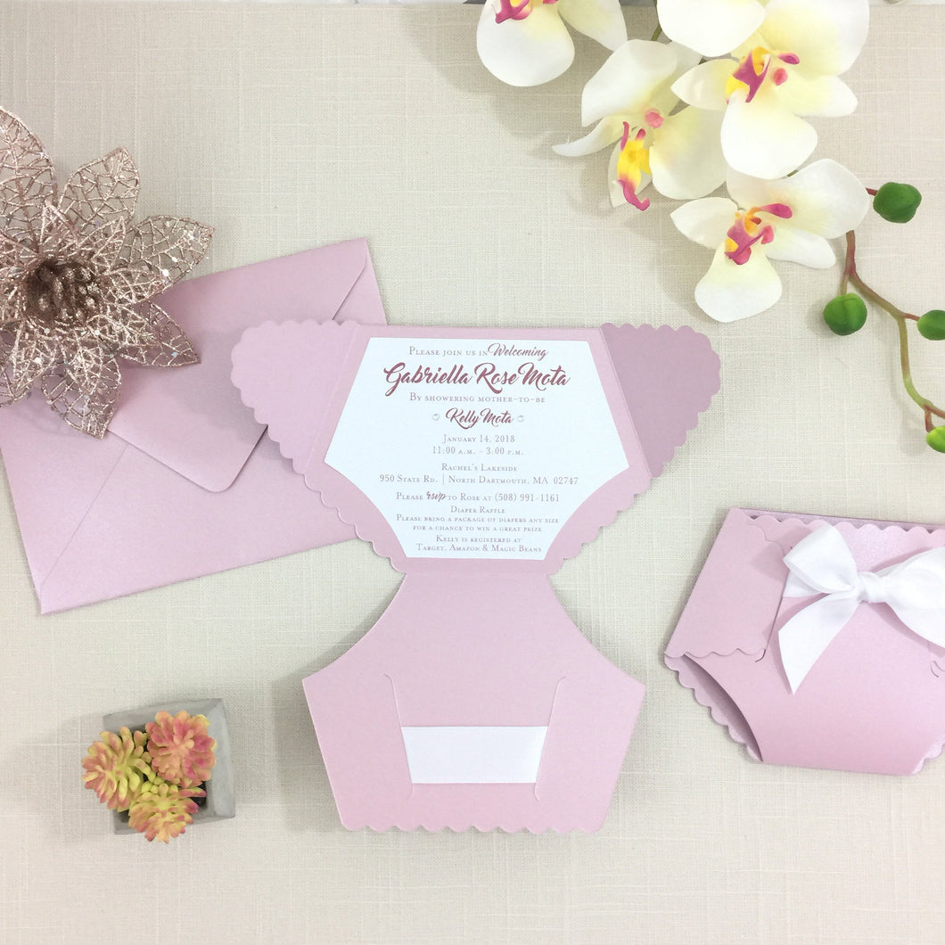 Baby Girl Baby Shower Diaper Invitation in Mauve Rose Blush and White - Simply Fab Chic