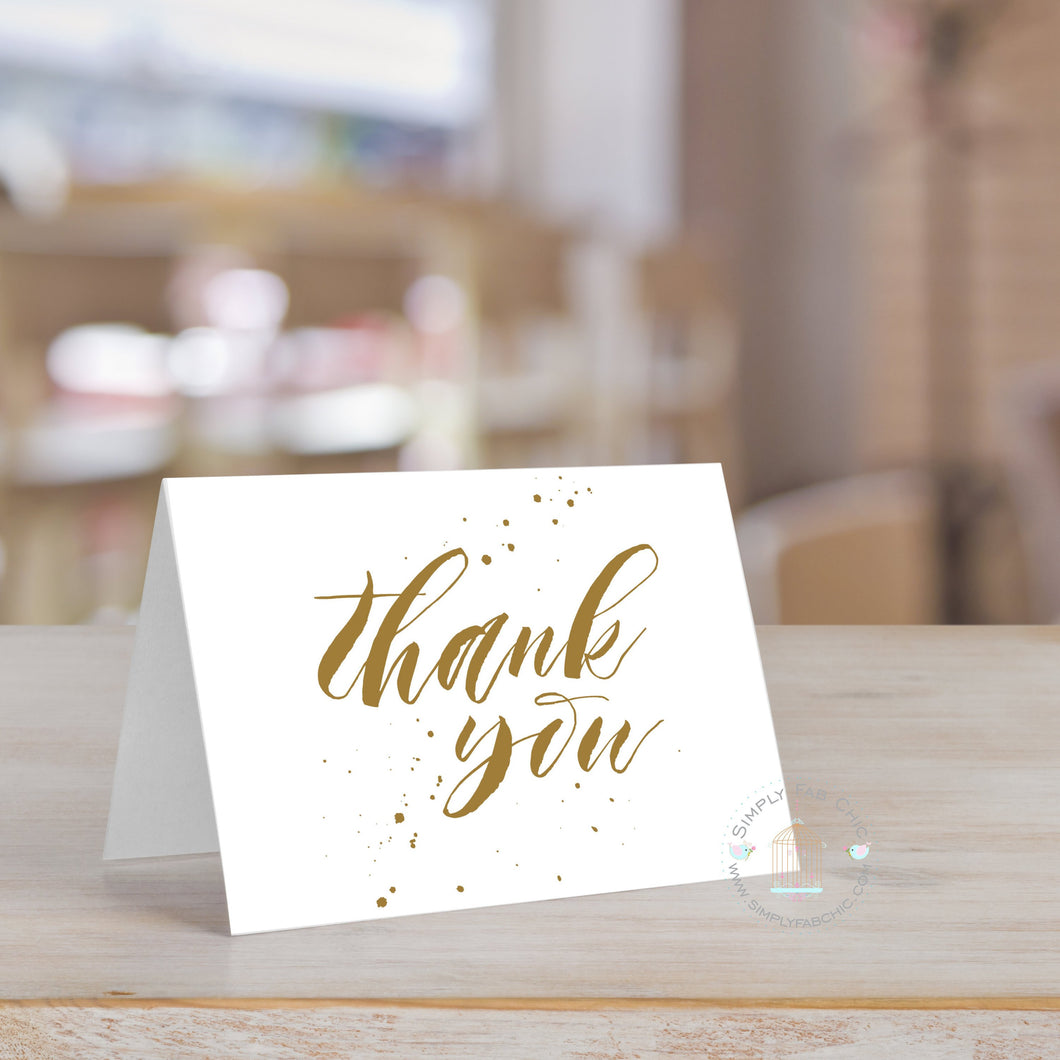 Handwritten Thank You Card (Set of 10) Gold Tone Color Wedding Thank You Card | Bridal Shower Thank You card note | Personalized Thank You - Simply Fab Chic