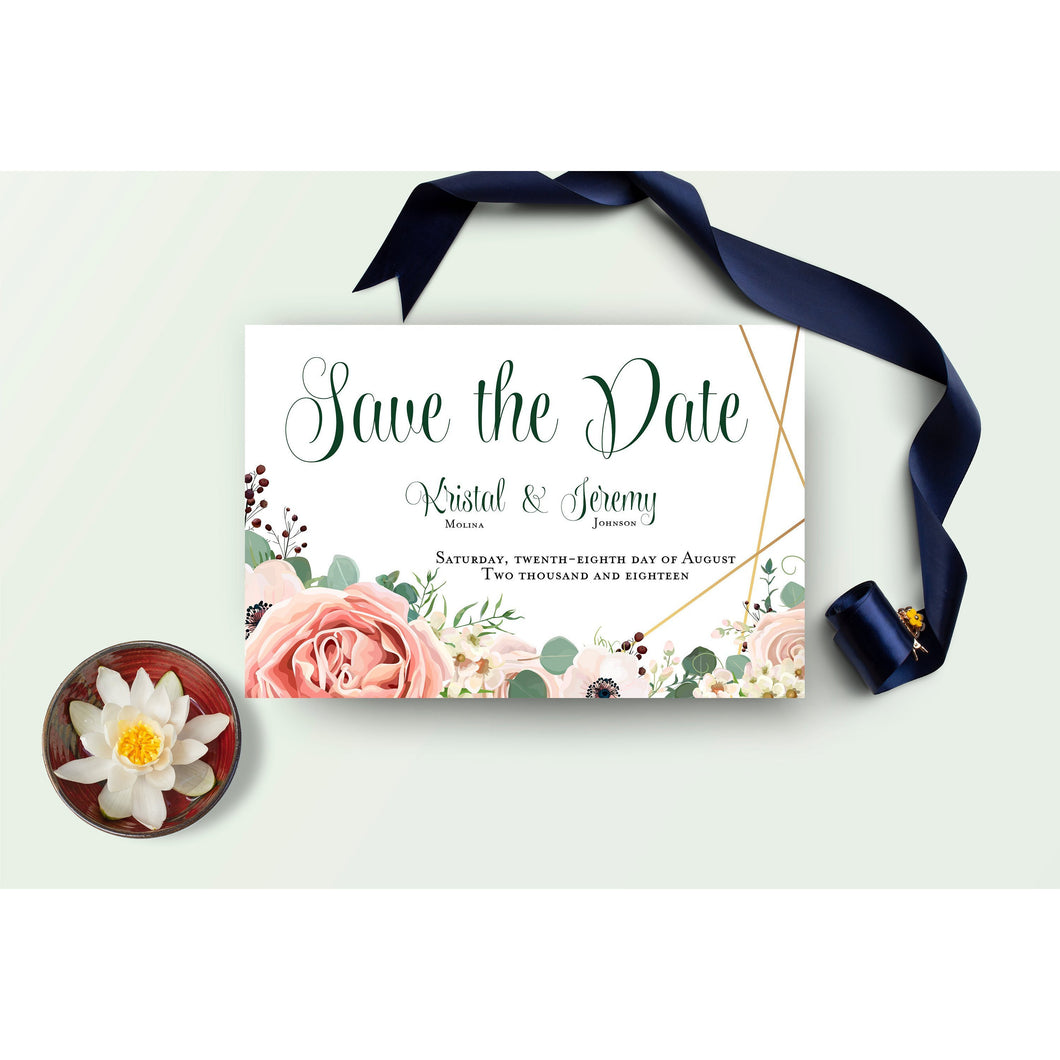 Garden Rose Wedding Save the Date Invitation | Lavender Eucalyptus Branches Save the Date Invitation | Save the Date | Bridal Shower Invite - Simply Fab Chic