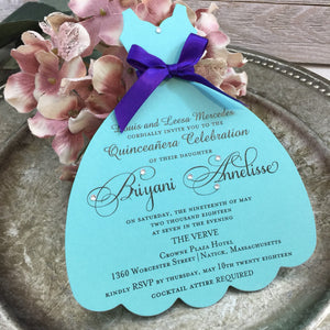 Quinceanera Turquoise Acqua Dress shaped Invitation for Tiffany inspired Sweet 16th Sixteen or 15th Quince, Set of 10 - Simply Fab Chic