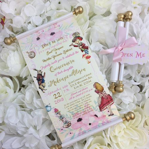 Vintage Alice Wonderland Onederland Pink Gold Tea Party Birthday Scroll Invitation - Simply Fab Chic