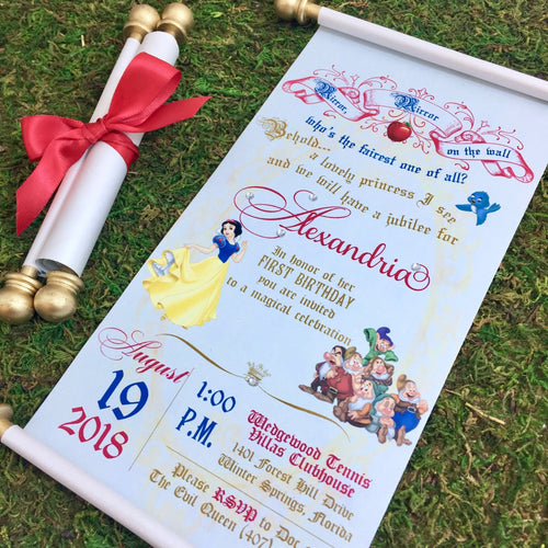 Snow White Scroll Wedding Invitation Birthday Handmade 7 Dwarfs Invitation - Simply Fab Chic