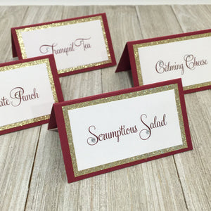 Wedding Burgundy Gold Place Card Food Tent Escort Seating Card - Simply Fab Chic