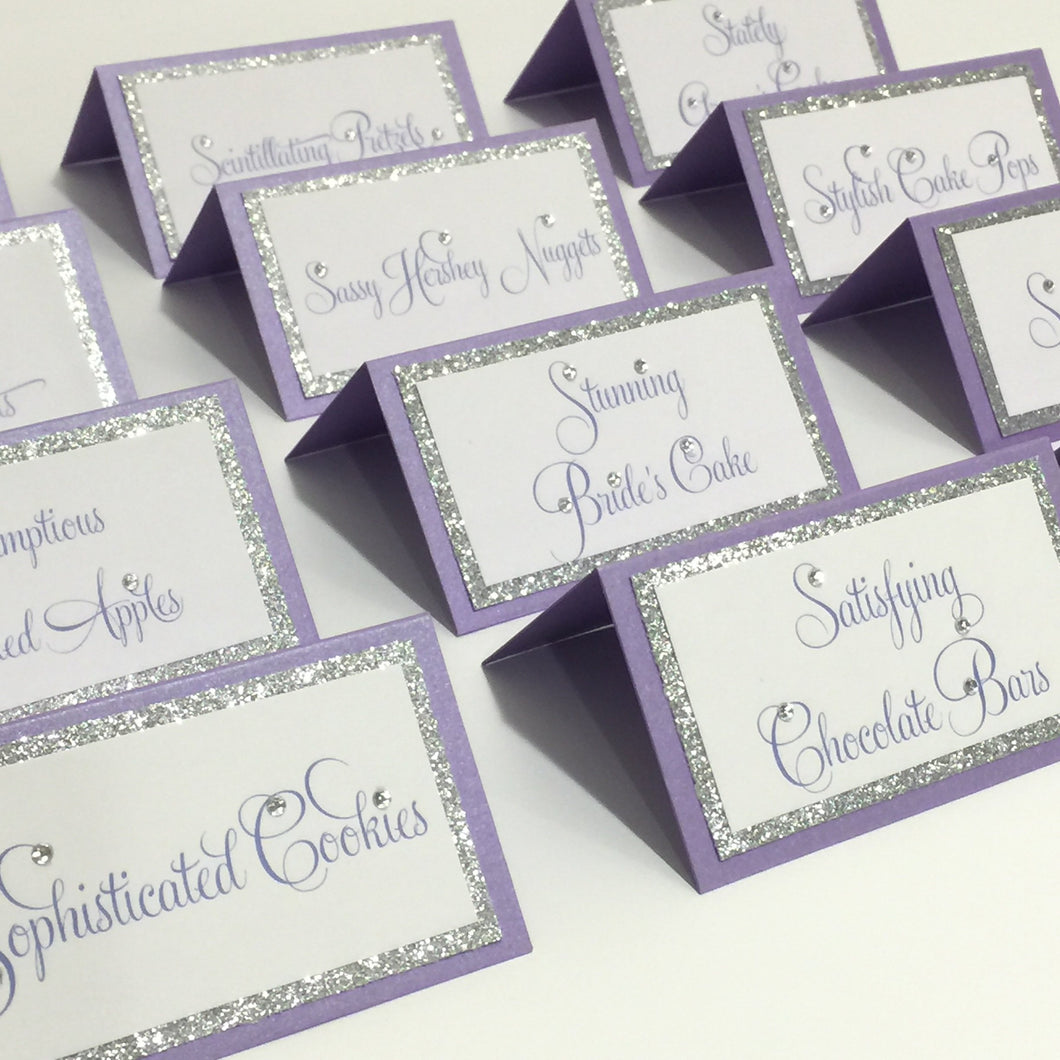 Wedding Lavender Silver Place Card Food Tent Cards Escort Seating Name Cards - Simply Fab Chic