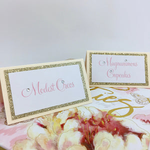 Wedding Ivory Gold Seating Place Card Food Tented Cards Escort Cards - Simply Fab Chic