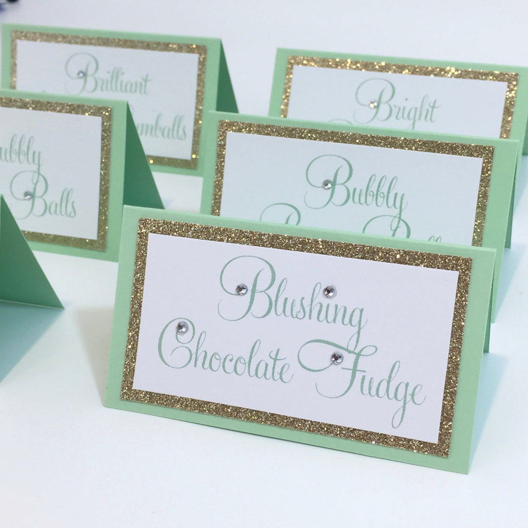 Wedding Mint Gold Place Card Food Tent Escort Seating Cards - Simply Fab Chic