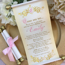 Load image into Gallery viewer, Bautismo Princesa Erase una vez Scroll Invitation | Primero año Birthday Princess Invitation | Quinceanera Wedding Invitation - Simply Fab Chic