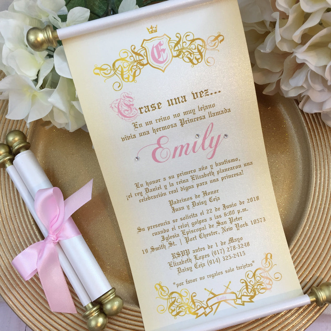 Bautismo Princesa Erase una vez Scroll Invitation | Primero año Birthday Princess Invitation | Quinceanera Wedding Invitation - Simply Fab Chic