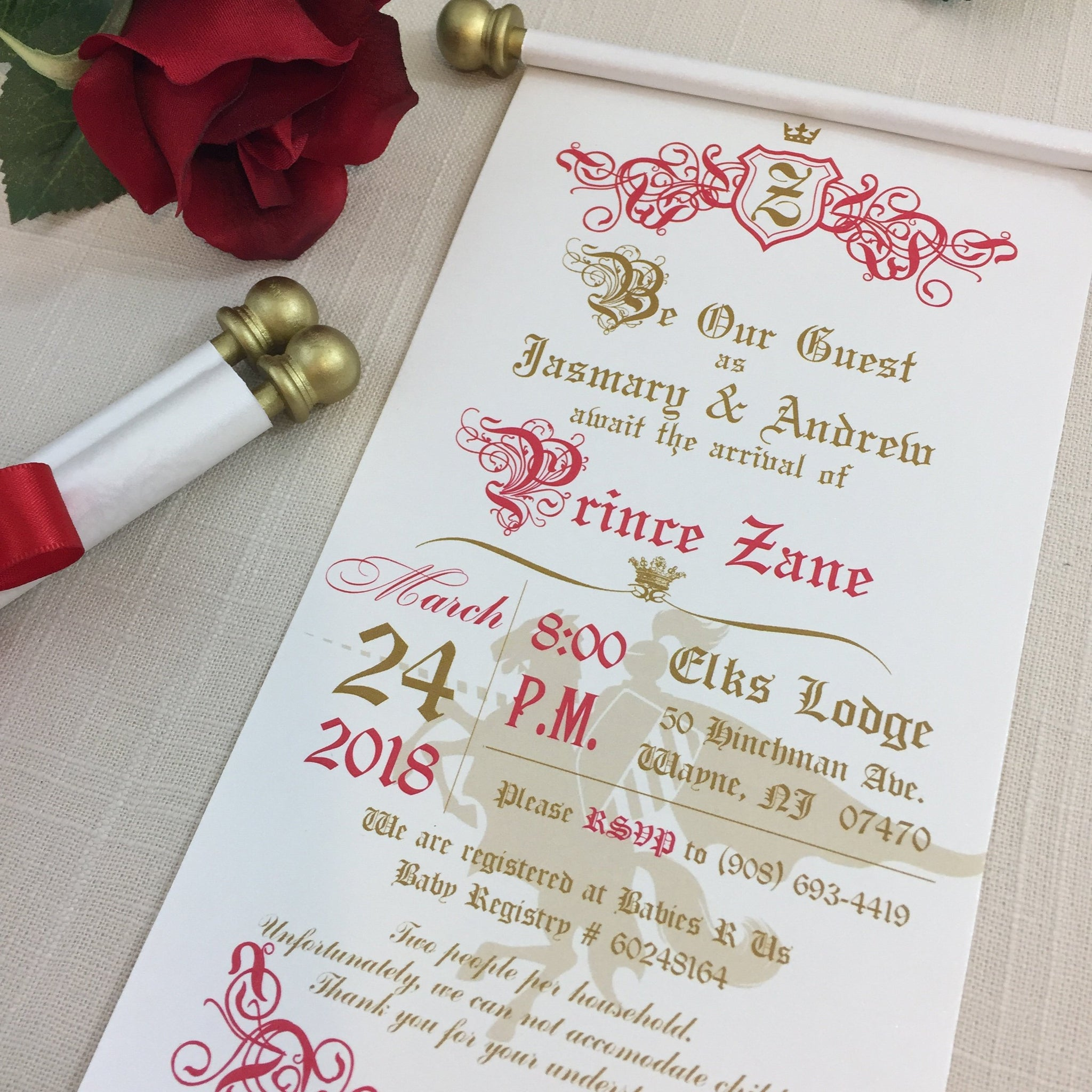 Prince Royal Baby Shower Scroll Invitation Red Gold