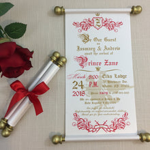 Load image into Gallery viewer, Prince Royal Baby Shower Scroll Invitation Red Gold - Simply Fab Chic