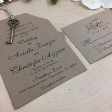Load image into Gallery viewer, Rustic Key Wedding Invitation | Bridal Shower Rustic Key to Heart | Kraft Key Invitation | Country Style Wedding - Simply Fab Chic