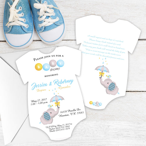 Baby Elephant Shower Onesie Invitation | Book Request Double Sided - Simply Fab Chic