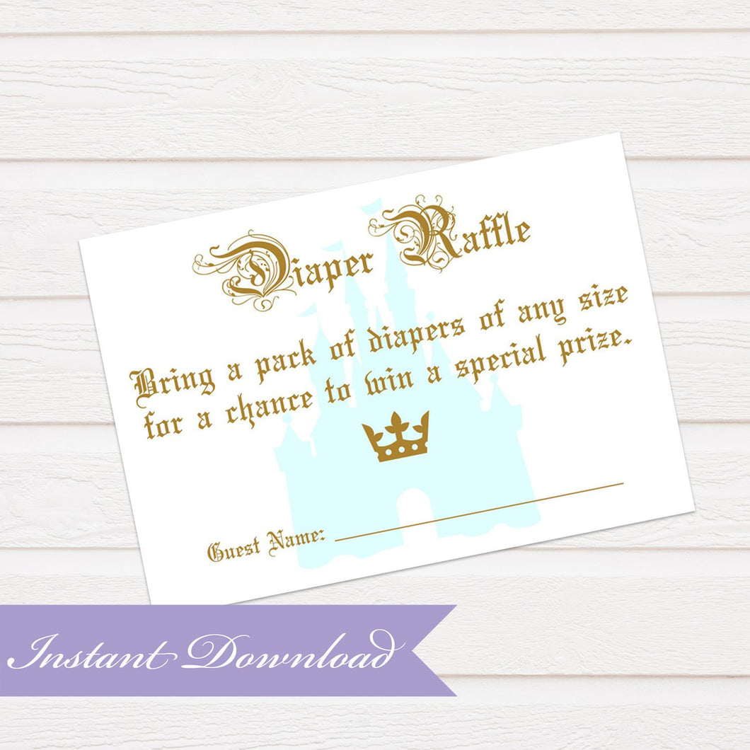 Prince Diaper Raffle Card | Prince Baby Shower | Baby Shower Diaper Raffle Insert | Digital File Baby Shower Raffle | Instant Download PDF - Simply Fab Chic