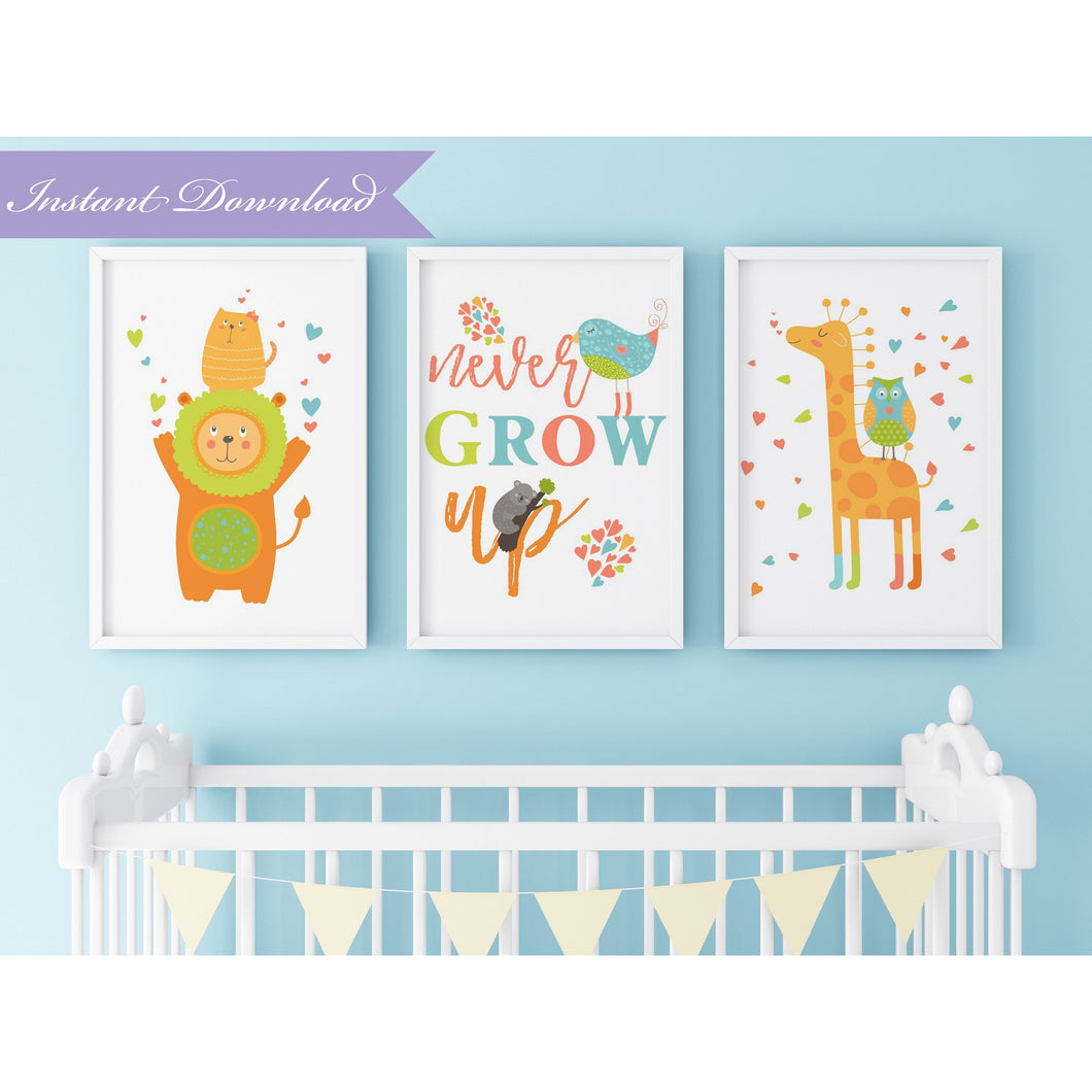 Wild Little One Never Grow Up Nursery Wall Art (3 Arts) | Nursery Art Print | Digital Download Nursery Wall Decor - Simply Fab Chic