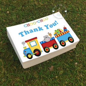 Choo Choo Train Thank You Card (Set of 10) | Thank You Flat card note | Baby Shower Thank You | Wedding Thank You | Birthday Party Thank You - Simply Fab Chic