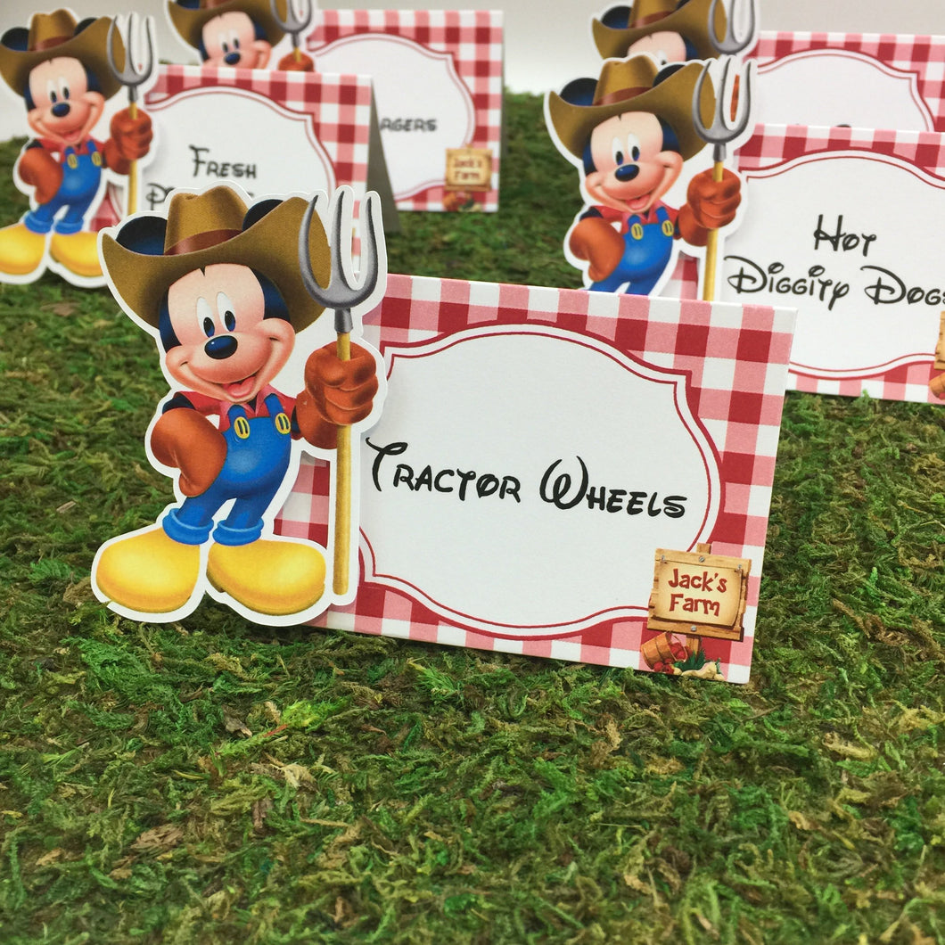 Farmer Mickey Birthday Place Card Food Tent Escort Seating Card - Simply Fab Chic