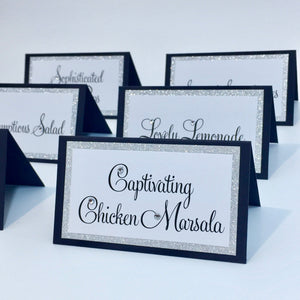 Wedding Deep Dark Navy Silver Glitter Place Card Food Tent Cards Escort Cards - Simply Fab Chic