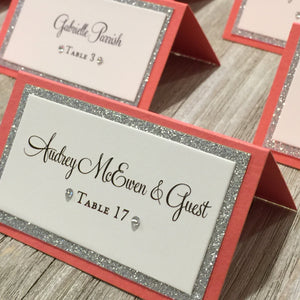Wedding Coral Melon Silver Place Card Food Tent Escort Seating Cards - Simply Fab Chic