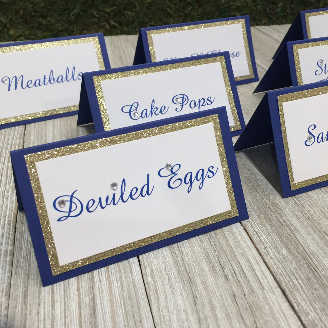 Wedding Royal Blue Gold Place Card Food Tent Seating Escort Cards - Simply Fab Chic