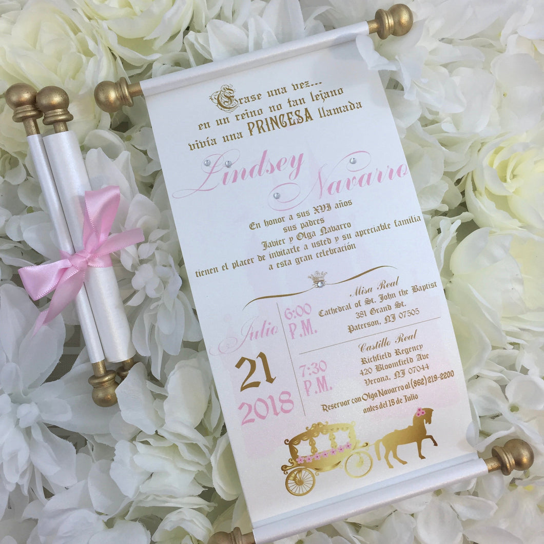 Princess Sweet 16 Quinceañera Spanish Gold Pink Scroll Birthday Invitation in Español - Simply Fab Chic