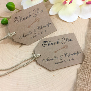 Rustic Key Wedding Thank You Tag (Min. Set of 8 tags) | Kraft Key to Heart Thank you Favor Tags | Escort Tags | Place Card Tags - Simply Fab Chic