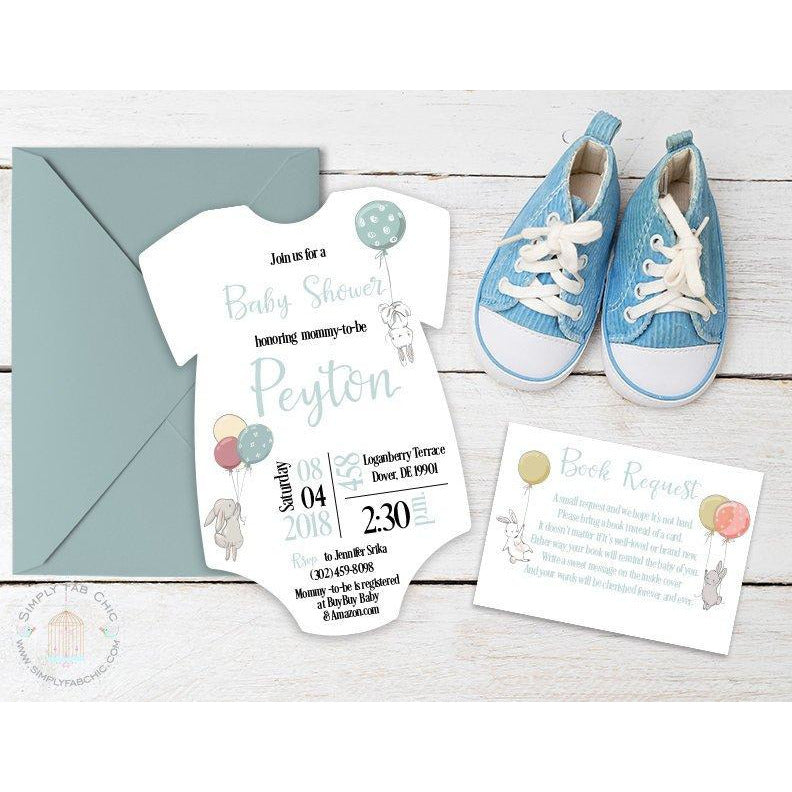 Bunny Baby Shower Onesie Invitation | Book Request Double Sided - Simply Fab Chic