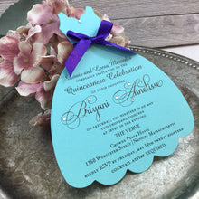 Load image into Gallery viewer, Quinceanera Turquoise Acqua Dress shaped Invitation for Tiffany inspired Sweet 16th Sixteen or 15th Quince, Set of 10 - Simply Fab Chic
