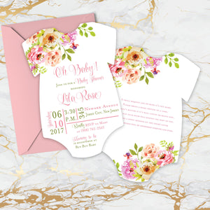 Watercolor Floral Baby Shower Onesie Invitation | Book Request Double Sided - Simply Fab Chic