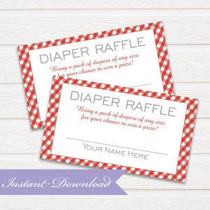 Diaper Raffle Card | BBQ Baby Raffle | Baby Shower Diaper Raffle Insert | Digital File Picnic Baby Shower Raffle | Instant Download PDF - Simply Fab Chic