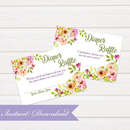 Floral Diaper Raffle Card | Baby Shower | Baby Shower Diaper Raffle Insert | Digital File Picnic Baby Shower Raffle | Instant Download PDF - Simply Fab Chic