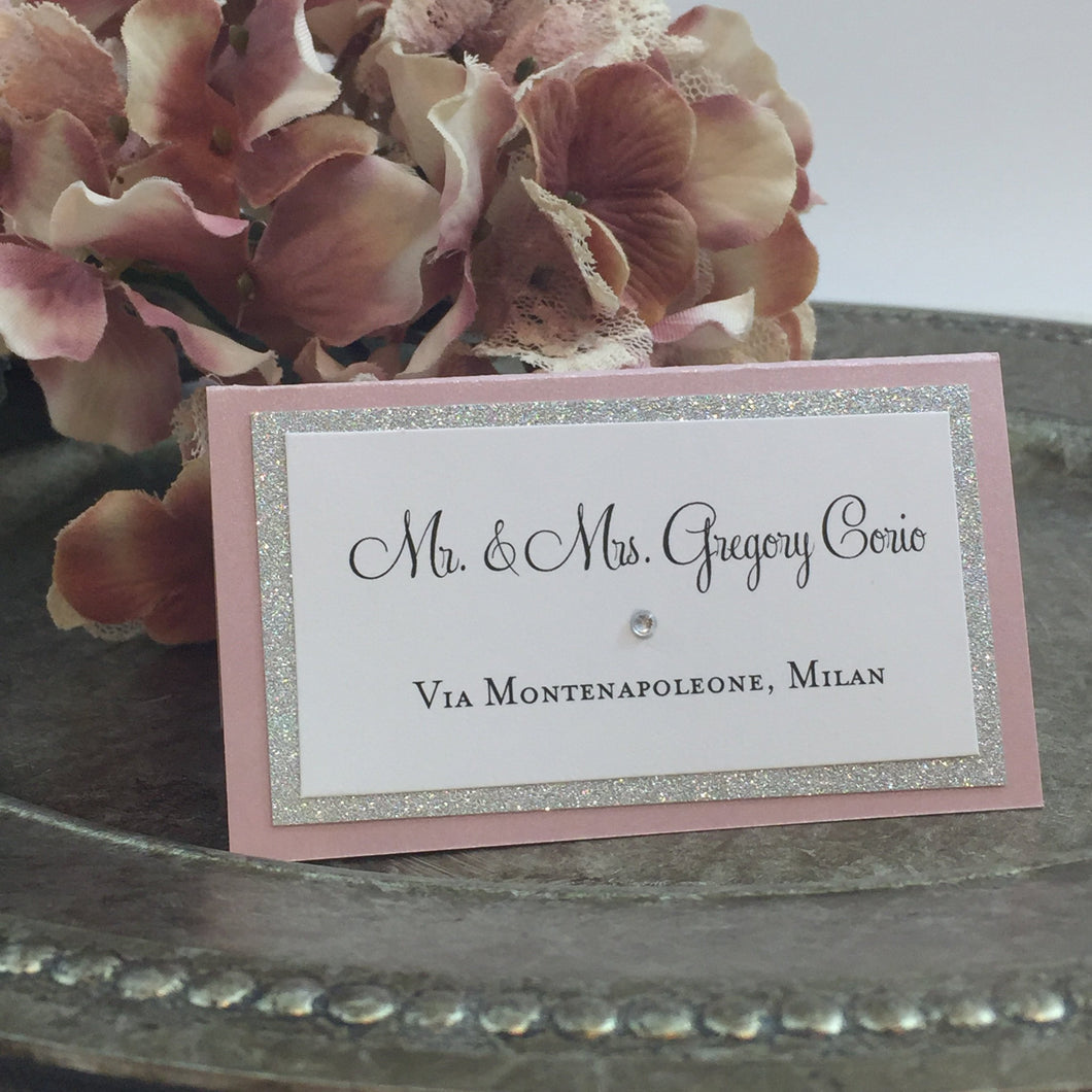 Wedding Place Card in Blush Pink and Silver Glitter Escort Seating Name Table Card - Simply Fab Chic