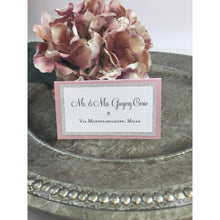 Load image into Gallery viewer, Wedding Place Card in Blush Pink and Silver Glitter Escort Seating Name Table Card - Simply Fab Chic