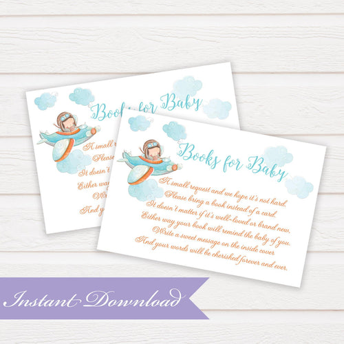 Book for Baby Little Pilot Book Request Insert Card | Baby Shower | Baby Shower Insert | Digital File Baby Shower | DYI Instant Download PDF - Simply Fab Chic