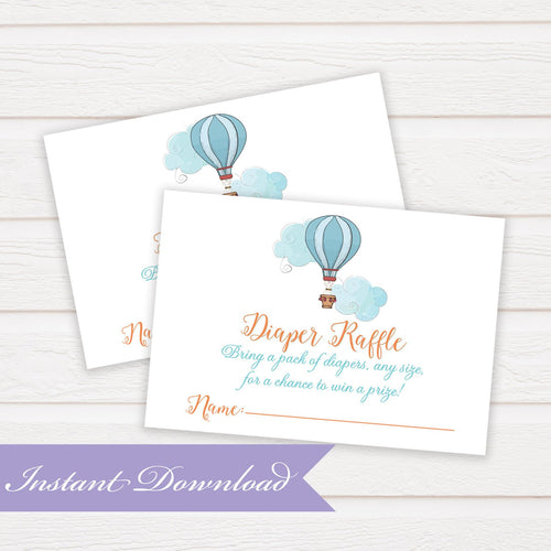 Diaper Raffle Hot Air Balloon Little Pilot Book Request Insert Card | Baby Shower Insert | Baby Shower Digital | DYI Instant Download PDF - Simply Fab Chic