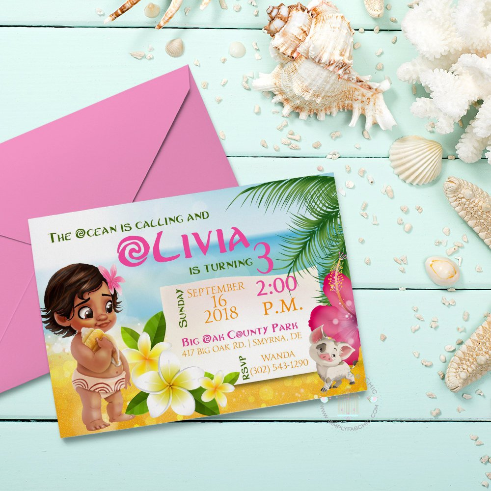 Moana Birthday Invitation | Baby Moana Birthday Handmade Invite | Birthday Invitation - Simply Fab Chic
