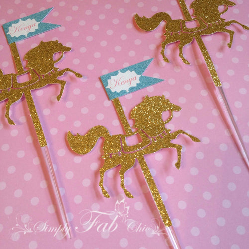 Carousel Horse Cupcake Topper / Merry Go Around Horse - Glitter with Personalized name flag - Simply Fab Chic
