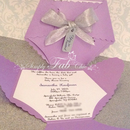 Baby Girl Baby Shower Diaper Invitation in Lavender Purple and Silver Gray - Simply Fab Chic