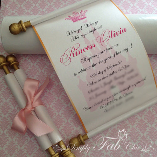 Royal Disney Princess Scroll Birthday Invitation in pink and gold - Simply Fab Chic
