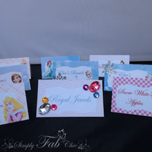 Load image into Gallery viewer, Disney Princess Tent Style Food Table Labels Name Card Personalized Birthday Party - Simply Fab Chic
