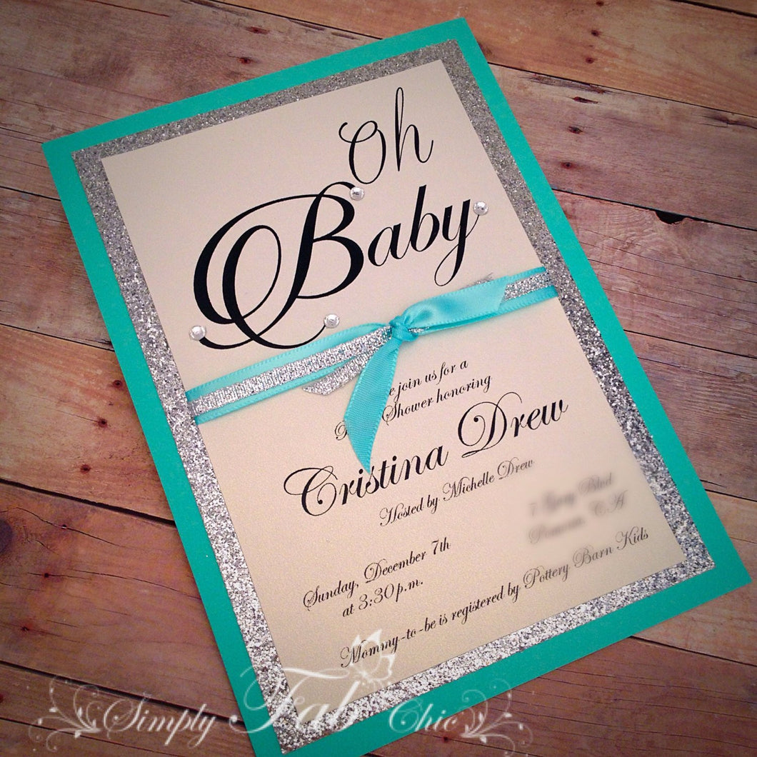 Custom Handmade Tiffany Turquoise & Silver Glitter Baby Shower Invitation Simple Elegant Babyshower Invitations - Simply Fab Chic