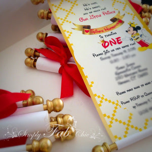 Royal Prince Mickey Birthday Scroll Invitation - Simply Fab Chic