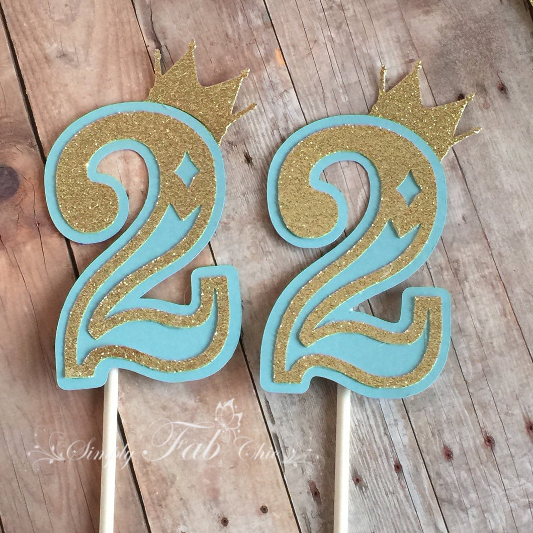 Royal Prince Princess Crown Age Cupcake Topper Glitter Sparkle - Simply Fab Chic