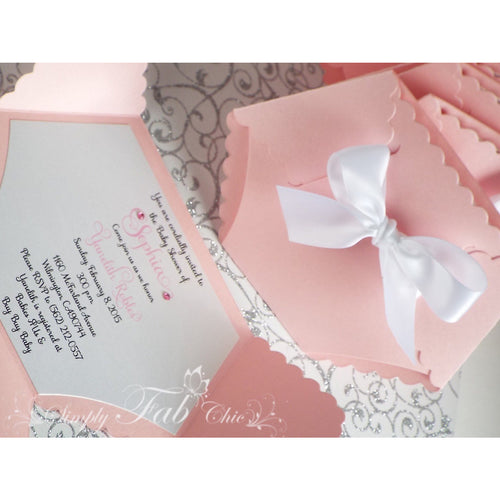 Baby Girl Baby Shower Diaper Invitation in Pink and White Bow - Simply Fab Chic