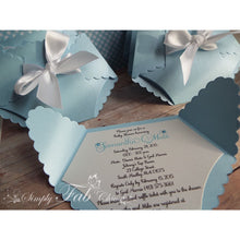 Load image into Gallery viewer, Baby Boy Shower Diaper Invitation in Light Blue and White - Simply Fab Chic